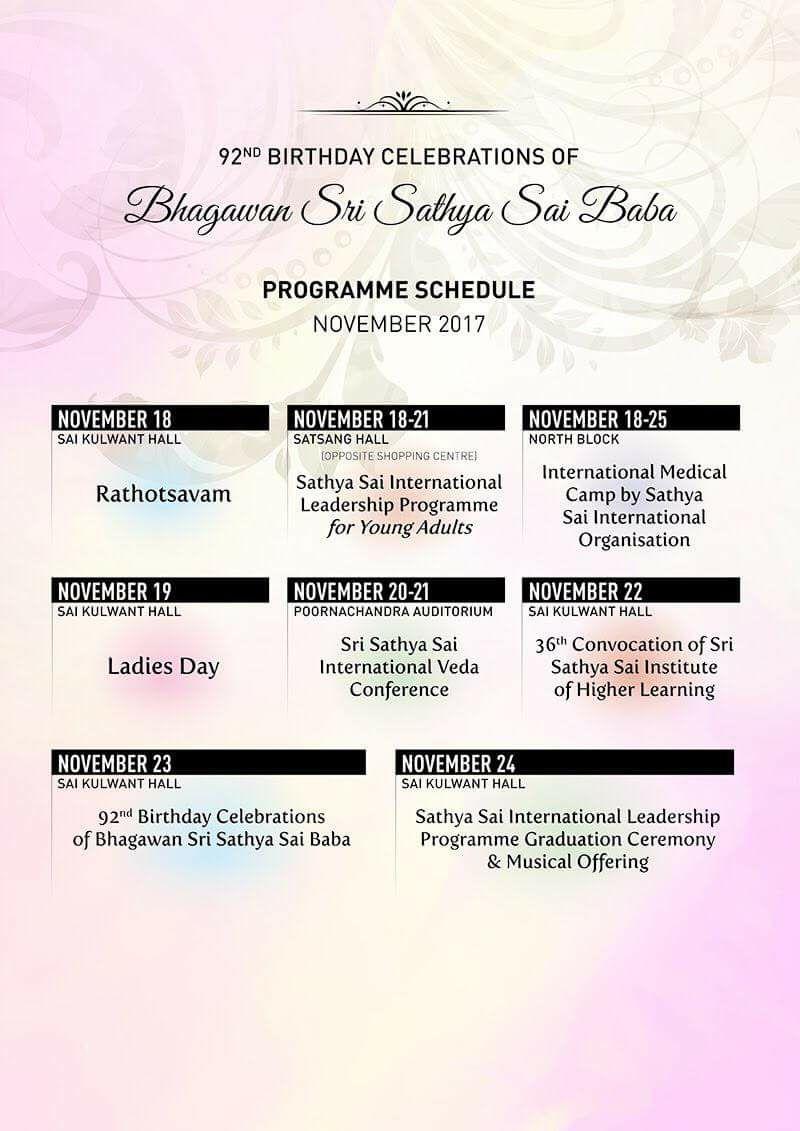 Parthi Programme Schedule Nov 2017